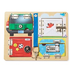 לוח מנעולים קטן מעץ דגם Locks and Latches Board Wooden Educational Toy